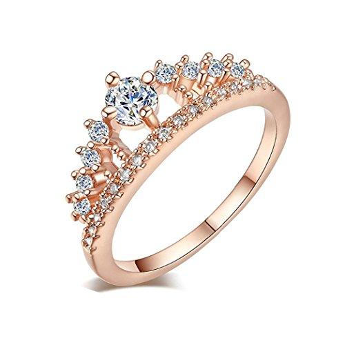 VJGOAL Damen Ring, 2018 Geschenk der Frau Valentine Neue Dame Fashion Gold Ziemlich Krone Kristall Prinzessin Verlobungsring (Größe 6=Durchmesser 16,5mm, Roségold)