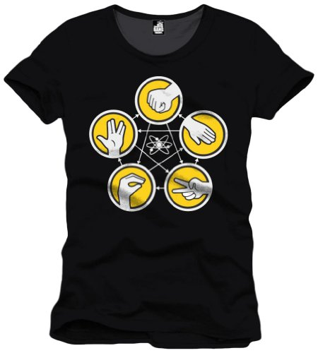The Big Bang Theory - Pierre, Feuille, Ciseaux, T-shirt da uomo, nero (noir), Medium (Taglia Produttore: M)