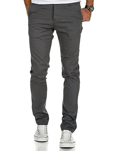 Amaci&Sons Herren Slim Fit Stretch Chino Hose Jeans 7010-09 Dunkelgrau W32/L32