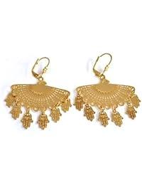 Beautiful Big Hamsa Evil Eye Protection Gold Earrings