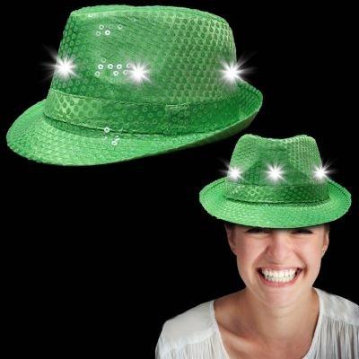 LED-Licht bis grün Pailletten Fedora