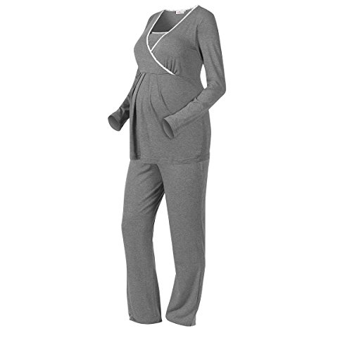 2HEARTS Umstands- & Still-Pyjama We Love Basics/Umstandsmode Damen/Stillschlafanazug Langarm/grau - Stretch-damen-pyjama