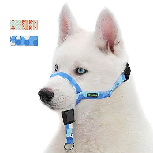 RockPet Hunde Maulkorb Hundehalfter aus Leder - Hundehalsband-Leder der Ziehen verhindert, Einstellbar, Maulkorb Hund(L, Saphir) - Co Halfter