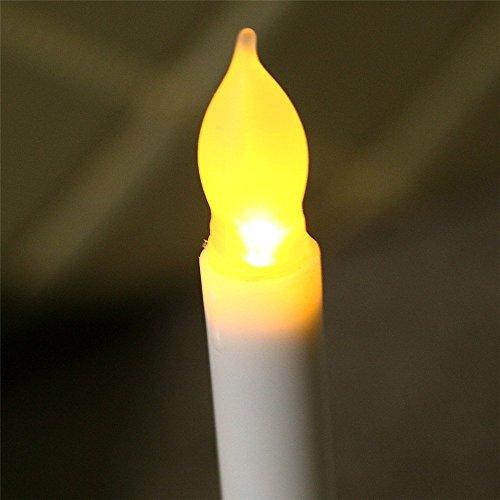 LED Velas de handise (TM) Conjunto de 12flammenlosem marfil de miniewachs de eingetaucht flackerndes bernsteinfarbiges LED de batería de temporizador de velas de vela