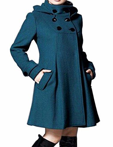 EMMA Damen Winter Mantel mit Kapuzen Kunstpelz Fleece Zweireiher Knopf Wolle Kapuzenjacke Warm Trenchcoat Schlank Wind Jacke Rollkragen Oversized Talliert Lang Mantel(BG,2XL)