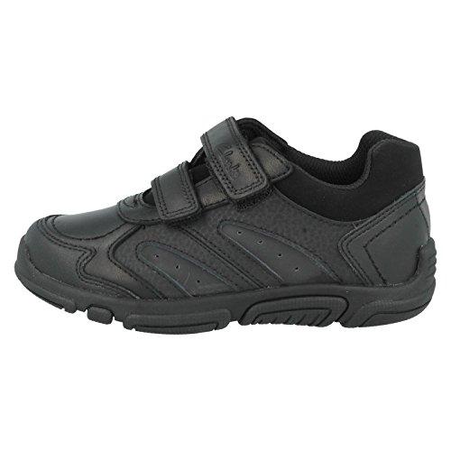 Clarks L'école Jack Spark Inf garçons Casual chaussure en cuir noir Black Leather