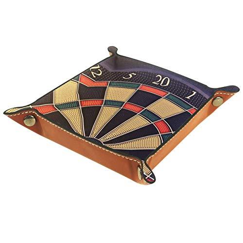 Bennigiry Valet Tablett Dartscheibe Spielwerfer Pfeile Wolfram Druck Leder Schmuck Tablett Organizer Box für Brieftaschen, Uhren, Schlüssel, Münzen, Handys und Bürogeräte, Multi, 16 x 16 cm