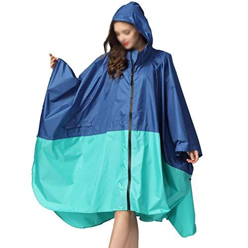 XHCP Regenmantel Erwachsene lose Frauen Code Code Reisen im Freien Treiben wasserdicht dünnen Mantel Regenmantel mit Kapuze Reißverschluss wasserdichte Jacke Poncho Erwachsene Regenmantel mit Kap (Tragetaschen Mäntel Für Frauen)
