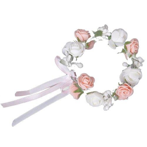 Bracelet Guirlande de Fleurs de Roses pour Festival Mariage Outil de Photographie - Rose et Blanc