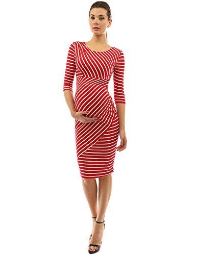 PattyBoutik Mama gestreiftes Schwangerschaft Etuikleid mit 3/4 Ärmeln und Rundhalsausschnitt (rot und weiß S 36/38) -