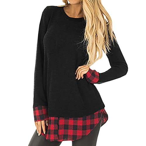 Frauen Tops, kimloog Casual Long Sleeve Rundkragen Plaid Patchwork Fake 2 Stück Bluse T-Shirts L schwarz