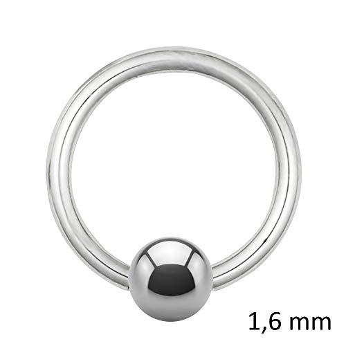 Treuheld Piercing Klemmring - Stahl - Silber - 1.6mm [02.] - 1.6 x 7 mm (Kugel: 4mm)