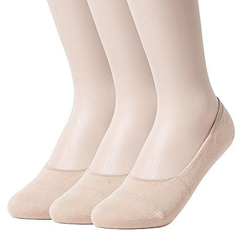Sockstheway Socquettes invisibles antidérapantes pour femme - beige -