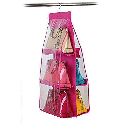 Chinatera 6 Pocket Large Clear Purse Handbag Hanging Storage Organizer Closet (Rose)