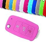 Funda protectora para llave de coche Muchkey Silicone Car Case Funda protectora apta para llave remota de 3 botones con cubierta protectora de silicona rosa
