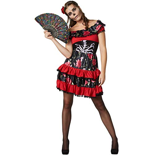 dressforfun 900417 - Damenkostüm gruselige Señorita, Sexy Carmen-Kleid inkl. Rosenspange und Fächer (L | Nr. - Sugar Skull Kostüm Männer