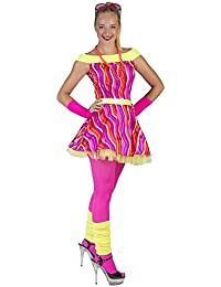 Disco Queen Kostüm Striped für Damen - Neon Rave Kleid für Karneval Mottoparty