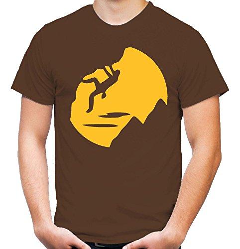 Climbing Männer und Herren T-Shirt | Sport Klettern Bergsteiger Geschenk | M1 (XL, Braun) (Training T-shirt Warrior)