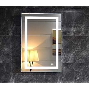 LED-Beleuchtung Badspiegel Lichtspiegel Wandspiegel Badezimmerspiegel Kaltweiß Tageslichtweiß mit Touch-Schalter 50x70 cm