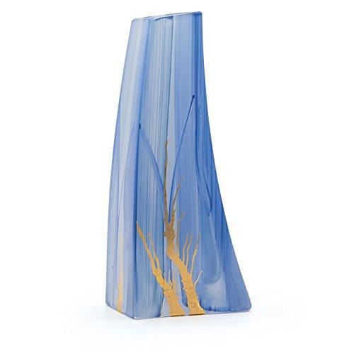 Angela neue Wiener Werkstaette Glasvase veredelt, Glas, Hellblau/blau, 8 x 5 x 19 cm