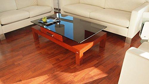 Carl Svensson Design Couchtisch V-470 / V-470H Milchglas/getöntes Glas (V-470H Kirschbaum mit getöntem Glas)