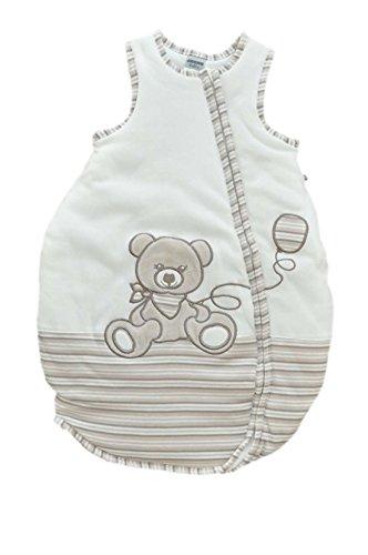 Jacky, sacco nanna, adatto per bambini e bambine, estivo, senza maniche, 100% cotone bianco off white/ringelstreifen 86/92