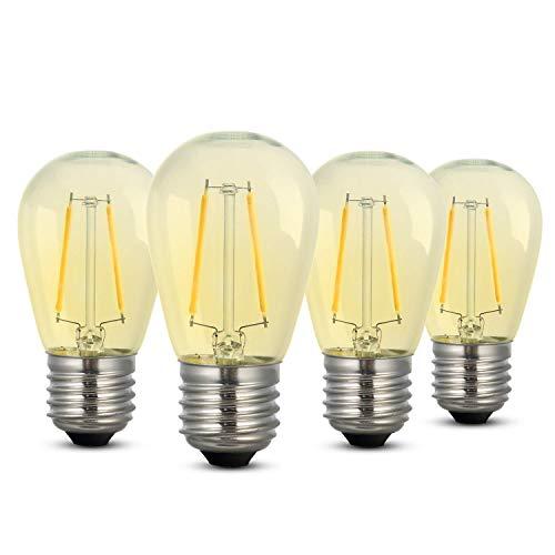 Dimmbar LED-Glühbirne, iEGrow Edison Stil Retro Glühbirne Warmweiß 2700K 2W ST45 LED Glühfaden Glühbirne, E27 Basis Lampe für Restaurant, Haus, Leseraum (4er-Pack)