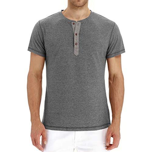 Camiseta de Manga Corta para Hombre, Estilo Informal, Ajustada, de algodón, con Solapa Frontal, para Verano - - XX-Large