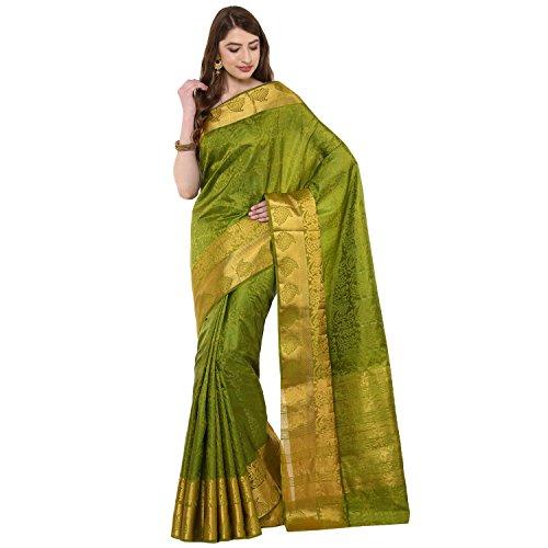 750ba466a7e58 Fasherati Green Banaras Silk Saree Zari Border with Blouse For Women