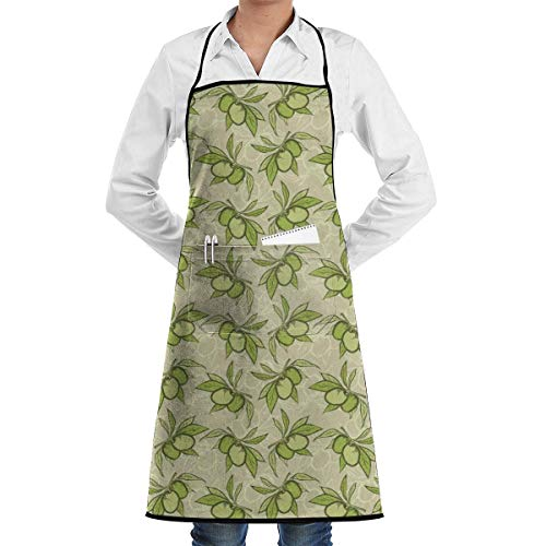 dfhfdsh Küchenschürze,Grillschürzen,Bib Apron with Pocket Green Olive Branch Pattern Kitchen Apron Waterproof for Cooking Baker Servers BBQ 20