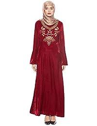 1f234fe699f7 BaronHong Abito Islamico Musulmano Ricamo Arabo Caftano Sciolto Abaya  Pleuche Dress