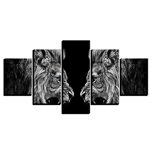 bonniegj Home Decor HD Prints Leinwand Poster Rahmen 5 Stücke Roaring Lions Spiegel Gemälde Wandkunst Tierbilder Für Wohnzimmer