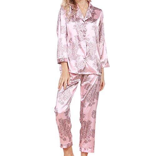 Meijunter Damen Satin Seide Pyjama-Set Lange Ärmel Nacht Kleidung Schlafanzüge 2 Stück Blumen Geometrisch Umlegekragen V-Ausschnitt Button-Down Frauen Loungewear Nachtwäsche Nachthemd (2 Seide Stück Anzug)