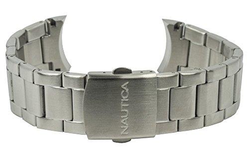 Nautica Ersatzband Uhrenarmband Edelstahl Band silbern A16666G / NST 09 / Ø 43mm / 28487