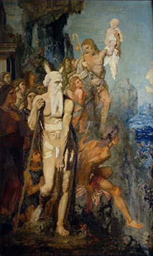 Berkin Arts Gustave Moreau Giclée Tela Stampa La Pittura Poster Home Decor Riproduzione(Mosè rimuove i Sandali Che guardano alla Terra promessa) Grandi Dimensioni 59.4 x 99.1cm