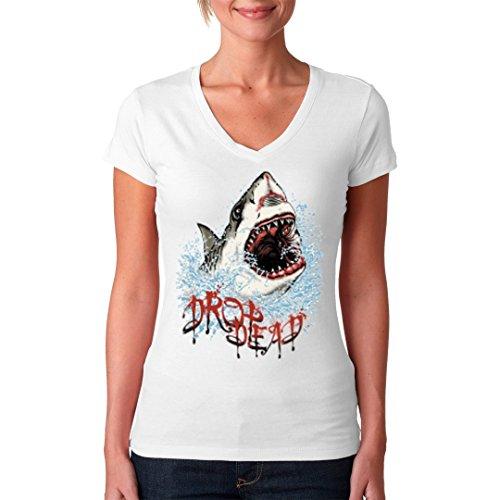 Fun Girlie V-Neck Shirt - Drop Dead Hai Angriff by Im-Shirt Weiß