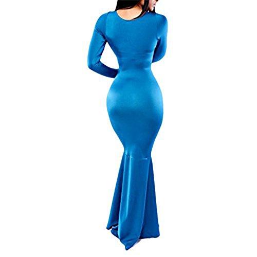 Robe Longue de Soirée Evasée vers le bas Bleu
