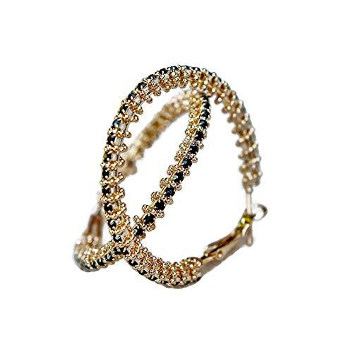 3140df1a1feb SAVILE Pendientes para mujer de aro con bolas negras unidas en plata 925  recubiertos en oro