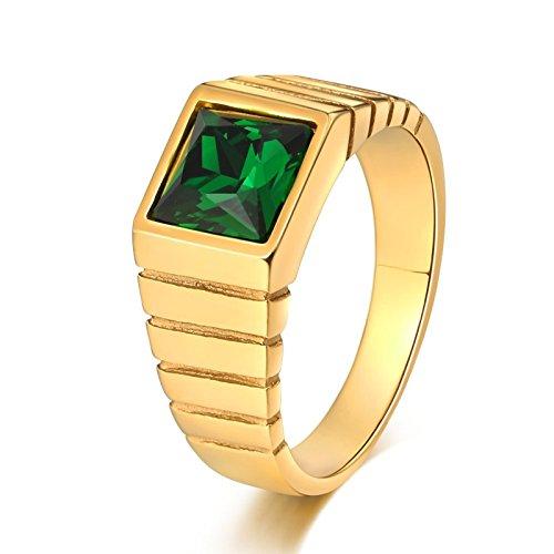 Daesar Edelstahl Männer Ring Edelstahlring Gold Quadrat Grün Zirkonia Breite 10 MM Freundschaftsring Retro Ring Gr.54 (17.2)