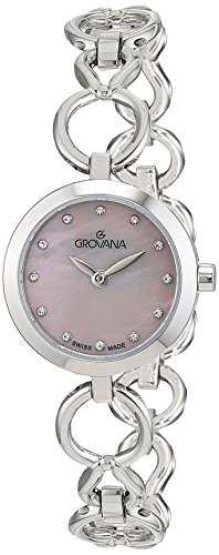 GROVANA 4569.1136 Women's Quartz Swiss Watch with Pink Dial Analogue Display and Silver Stainless Steel Bracelet
