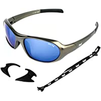 Rapid Eyewear Aspen SKIING GLACIER AND EXTREME SPORT SUNGLASSES & GOGGLES Anti Fog Blue Mirror Lenses and Retainer Strap for Men and Women. Antiglare UV400 Protection
