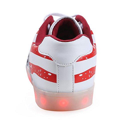 SGoodshoes Unisexe Men & Women USB recharge 7 couleurs Chaussures LED Luminous Sport Clignotant Couples Sneakers WHRD
