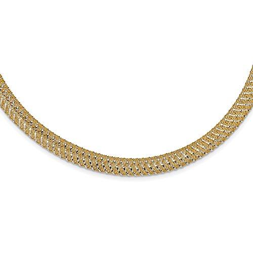 Preisvergleich Produktbild Leslie 's 14K Bicolor Gold poliert Mesh Stretch Halskette lf1129–18