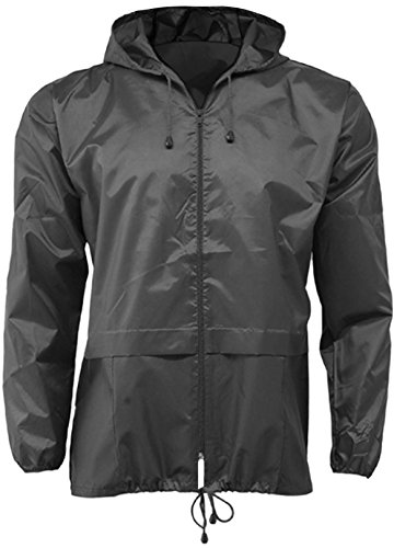 Mens 100 Waterproof Showerproof Kagoul Jacket Rain Coat Kagool extended hood (XXL, Black)