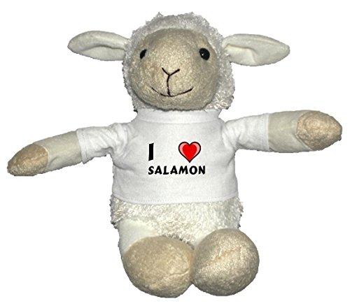 Preisvergleich Produktbild Weiß Schaf Plüschtier mit T-shirt mit Aufschrift Ich liebe Salamon (Vorname/Zuname/Spitzname)
