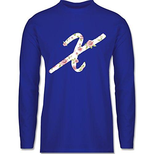 Anfangsbuchstaben - X Rosen - Longsleeve / langärmeliges T-Shirt für Herren Royalblau