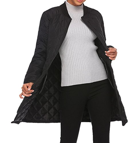 Zeela Damen Warm Mantel Übergangsmantel Übergangsparka Steppjacke Langarm mit Taschen Elegant Schwarz
