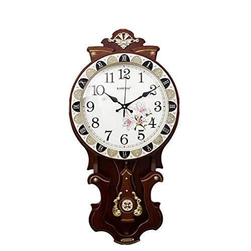 SCJS Relojes Vintage Reloj de Pared Creativo de Madera, Sala de Estar Comedor Reloj Mute Dormitorio Reloj Mesa Reloj de Cuarzo Antiguo 16 Pulgadas (Color: marrón)