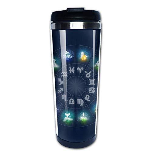 QIUJUAN Zodiac Circle Fashion Office Mug 400 Ml Portable Coffee Travel Mug For Men Women Stainless Steel Tumbler Cup (Keurig Portable)