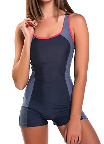FITTOO Damen Vintage Figuroptimizer X-Rücken Einteiliger Sport Badeanzug mit Bein Schwarz